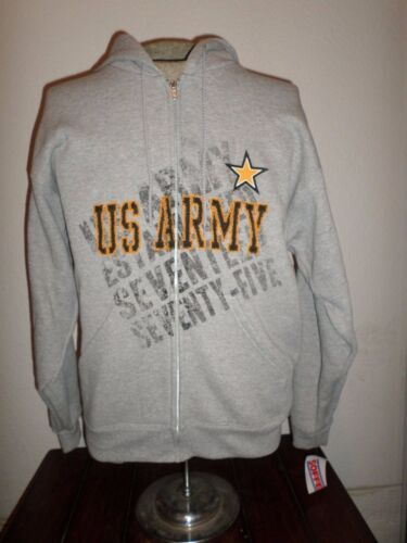 NEW U.S MILITARY ARMY SWEATSHIRT ZIPPERED HOODIE ESTABLISHED 1775 SIZE LARGE