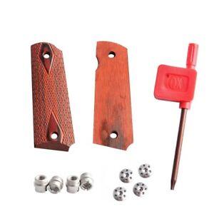 1911 Checkered Red Diamond Wood Grips With Allen Screws & SS Grip Screws...