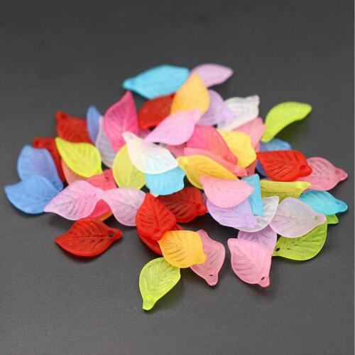 100pcs Mixed Flower Frosted Acrylic Spacer Beads Caps For Jewelry Making 18mm