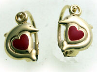 Children's Earrings Button Dolphin With Heart Solid 333 Gold Of Yellow Quality