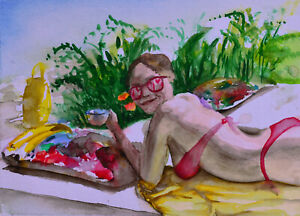 Original-Aquarelle-Akt-watercolor-Nude-Nu-Dessin-BOB-Art-21x29cm-Nr102