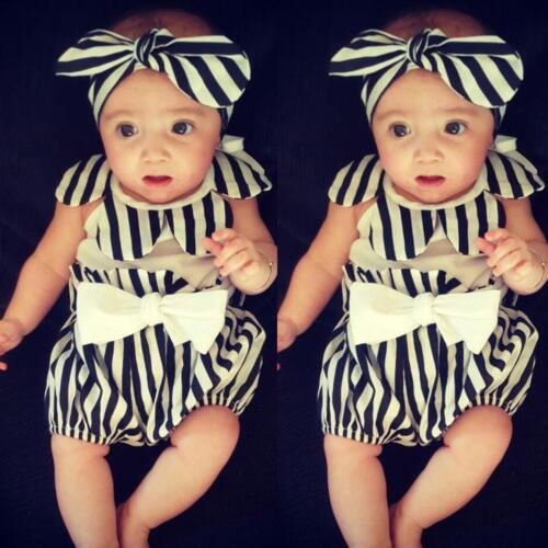 Newborn Infant Baby Girl Tops Romper+Short Pants+Headband 3PCS Outfit Clothes UK