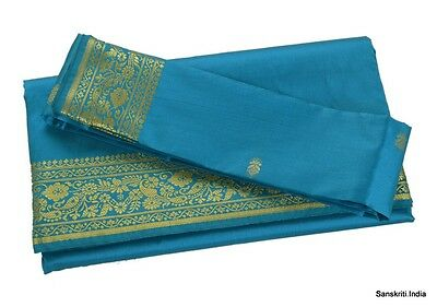 INDIAN ART SILK SARI SAREE WOVEN GOLDEN WITH BLOUSE PIECE PAISLEY DESIGN DECOR