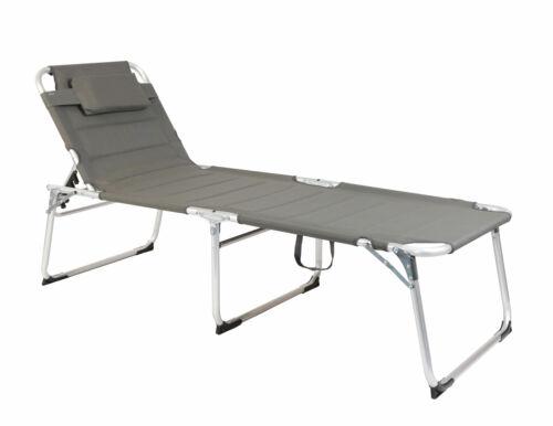 grau Alu Gartenliege XXL Sonnenliege 150 Kg extra breit Relax Liege Strand