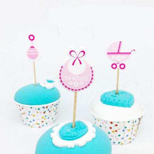 36pcs It/'s a Girl Boy Cake Topper Gender Reveal Baby Carriage Bib Food Picks