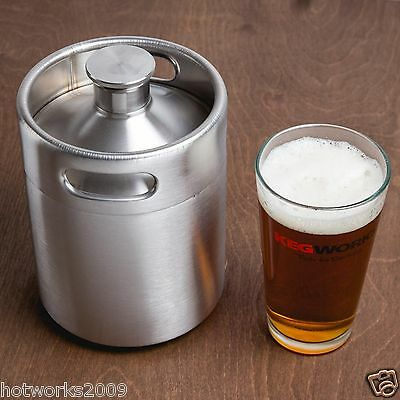 Stainless Steel Beer Growler - 2L 64oz,Mini beer Keg,beer bottle,barrels