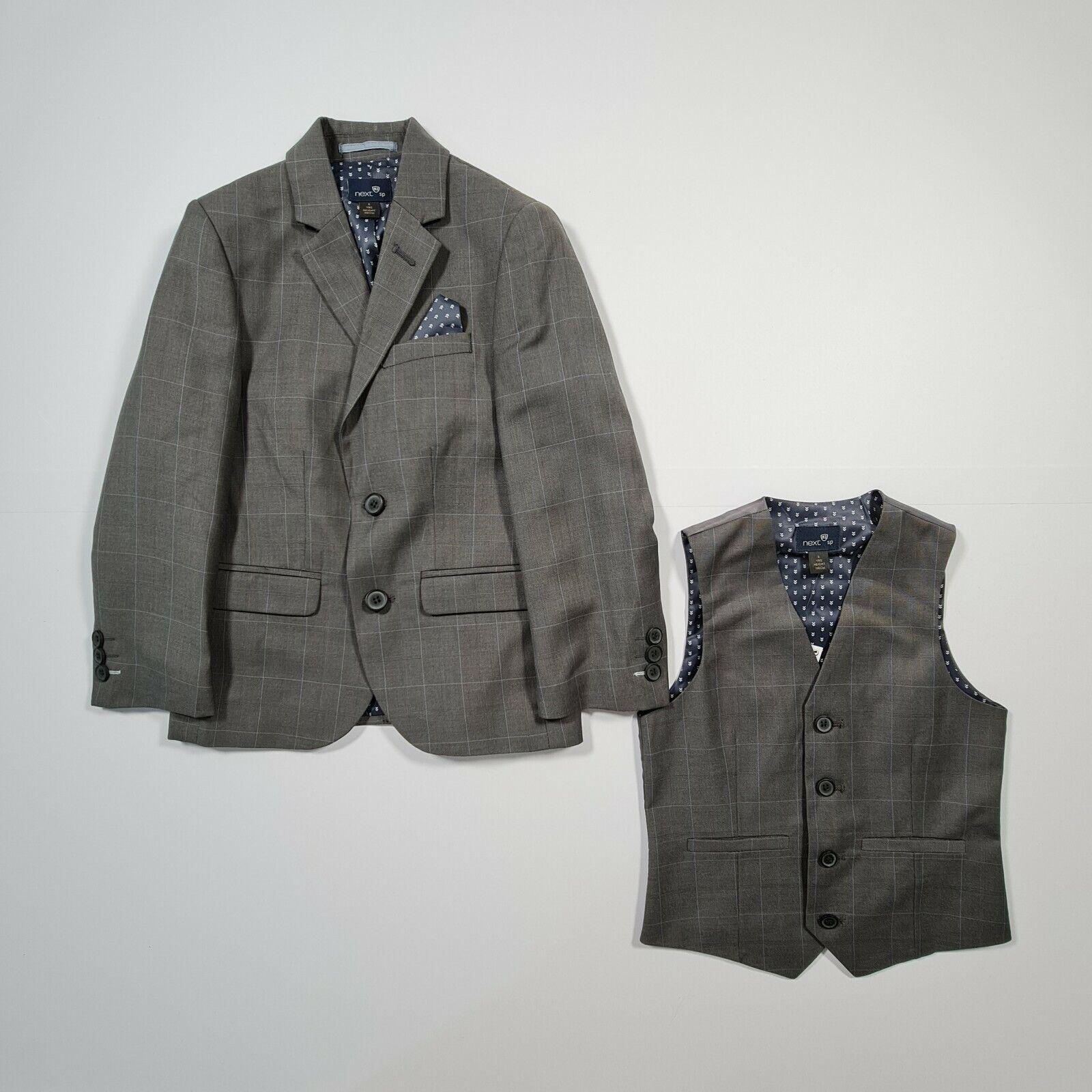 NEXT Boys Grey Check Pattern Twill Suit Jacket & Waistcoat Age 6 Years
