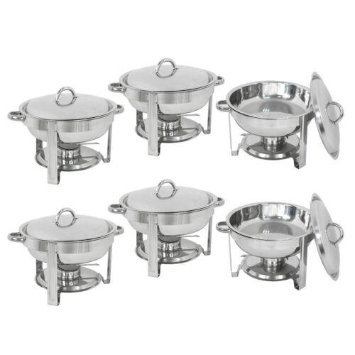 6-Pack Round Chafing Dish Buffet Chafer Warmer Set w//Lid 5 Quart,Stainless Steel