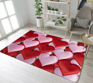 Details about Valentine\'s Day Red & Pink Love Hearts Area Rugs Bedroom  Living Room Floor Mat