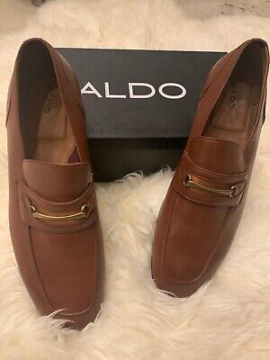 aldo men's 14 brown leather dress shoes murat bit loafer
