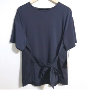 5b41b538b889b1 AVA & VIV Women's Short Sleeve Tie Front Blouse Top Plus Size Navy ...