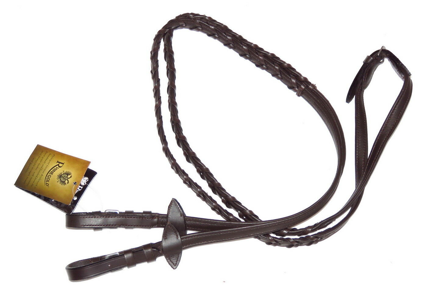 RHINEgold Laced Woven Braided SOFT NAPPA LEATHER PADDED Reins Showing Dressage