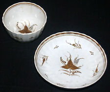 ANTIQUE PEARLWARE CUP & SAUCER PROBABLY LEEDS BROWN LEAF DECORATED PAINTED