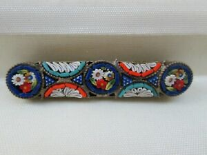 Vintage-Italian-Micro-Mosaic-Flower-Brass-Tone-Bar-Signed-Italy-Brooch-Pin