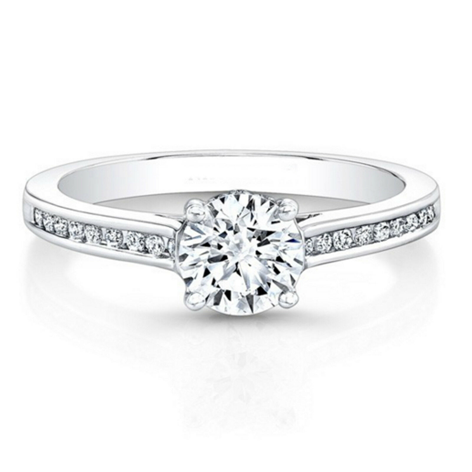 Engagement Rings Diamond 0.83ct Round Diamond Engagement Wedding Band Solid 14k Solid White Gold