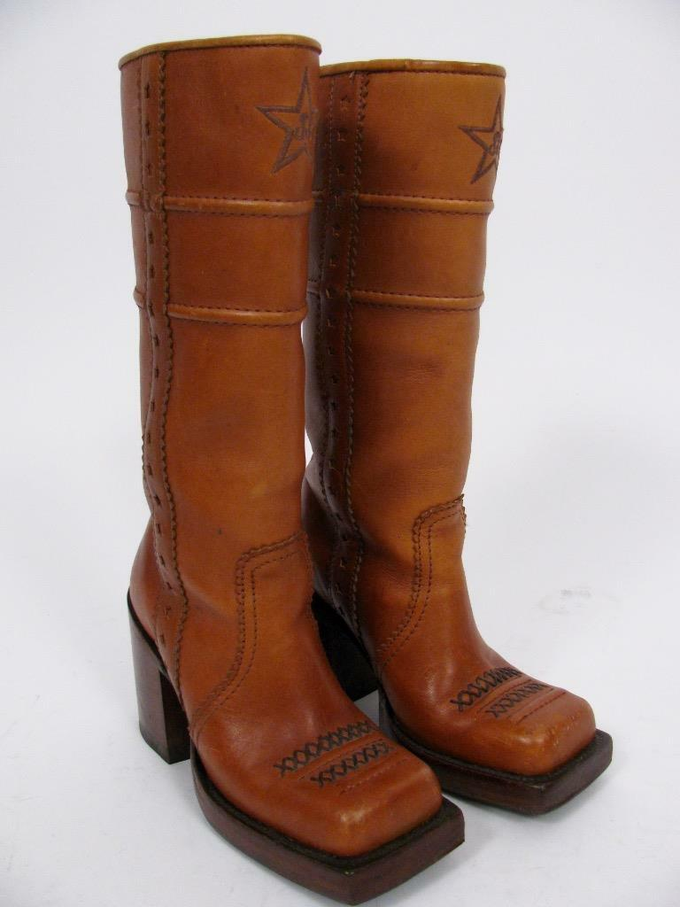 JOHN FLUEVOG BROWN LEATHER VTG 70'S CHUNK HEEL SQUARE TOE TALL BOOTS SHOES~6
