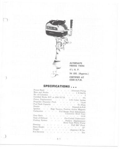 "4.5Hp   Outboard Motor Service Manual MARTIN /""40/"""