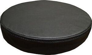 Runde-Schwarz-Sitzkissen-Echt-Lederkissen-Sitzpolster-Sessel-Stuhle-Bar-Hocker
