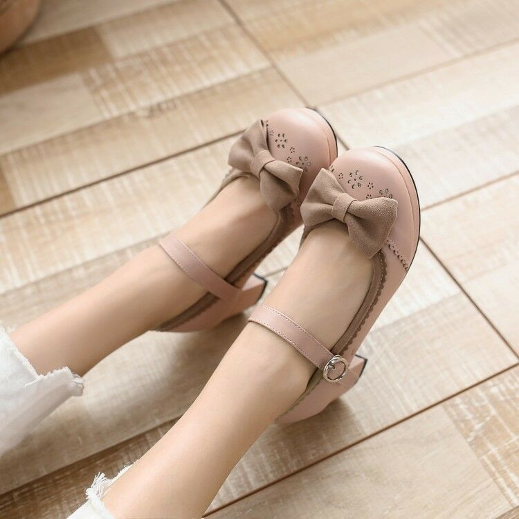 Women Bowknot Ankle Strap Buckle On Mary Jane Mid Block Heel Lolita Cosplay shoes