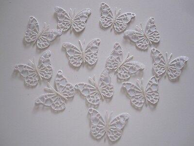 12 Small 3d Die Cut Butterfly Toppers White Glitter / White Card Modieuze En Aantrekkelijke Pakketten