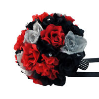 Black,red,silver-10 Bridal Bouquet-silk Flower Wedding