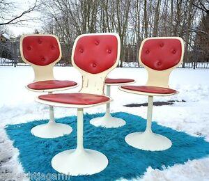 Details zu 4x 70er Stuhl Tulpenfuß Tulip Chair Trompetenfuß Esszimmerstühle Drehstuhl Space