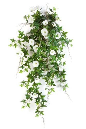 Artplants Artificial Petunia Magdalene Socket Rod White-Yellow 95cm-Deco Ranke