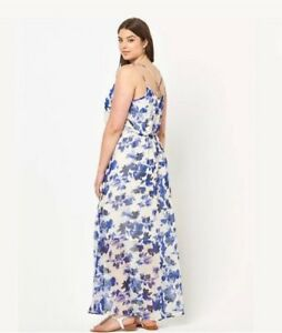 Junarose-Curve-Strappy-Maxi-Dress-Size-18-Blue-amp-White-Floral-BNWT