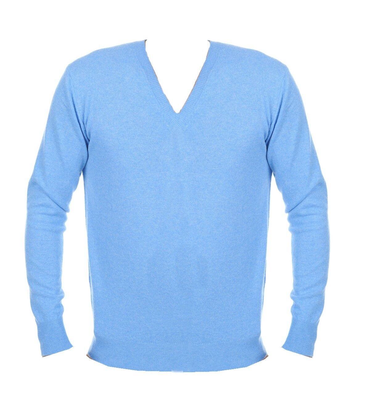 Balldiri 100% Cashmere Herren Pullover V Ausschnitt hellblau XL