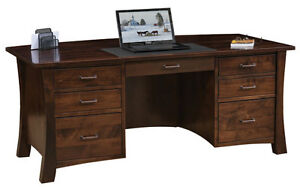 Image Is Loading Amish Luxury Executive Desk Solid Wood Lexington Curved