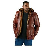 EXCELLED MENS REVERSIBLE LEATHER COGNAC FAUX FUR BOMBER JACKET COAT SZ 2XL - NWT