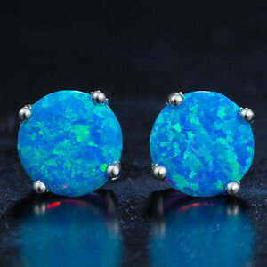 Blue-Opal-Stud-Earrings-Vibrant-Colour-in-White-Gold-Plated-with-8mm-Round-Cut