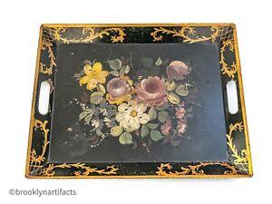 Antique English Folk Art Tole Painted Large Serving Tray - Black Floral Design