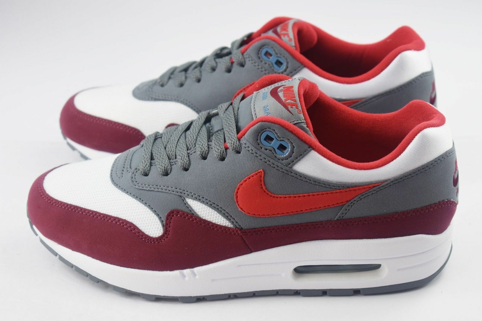 New Nike Men's Air Max 1 shoes (AH8145-100) White Univ Red-Cool Grey-Team Red