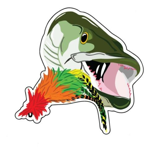 FLY FISHING BUMPER STICKERS Muskie on the Fly musky Decals Flies Lures