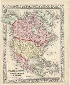 """1864 S.A. Mitchell """"Map of  North America showing its Political Divisions"""""""