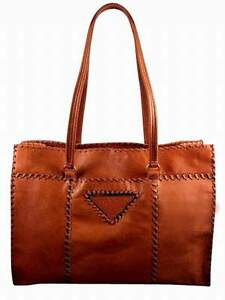 d8607f3a04d1 Pre Owned Vintage Prada Leather Tote Camel BR3183 Pristine Condition ...