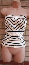 COAST WHITE BEIGE BROWN RIBBON EMBROIDERED MESH CORSET BUSTIER TOP BLOUSE 10 S