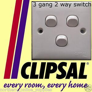 Clipsal-3-gang-2-way-Switch-lighting-250V-10A-WHITE-NEW-UK-SELLER