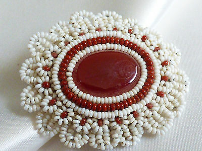 VTG seed beads beaded crochet lace calcedony oval pin brooch