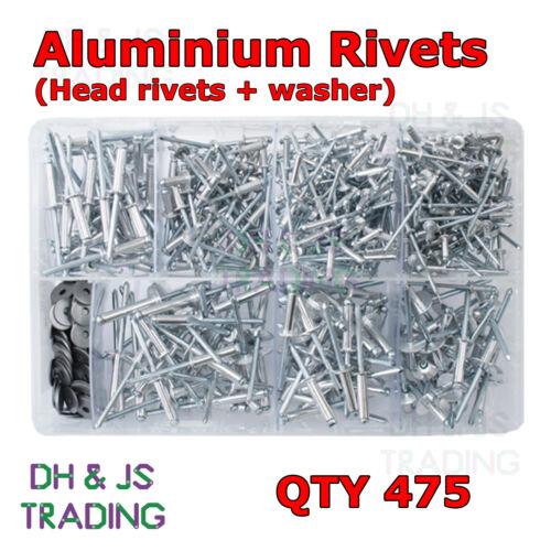 più popolari Casella ASSORTITI del POP Rivetti /& Rondella alluminio HEAD Qtà 475