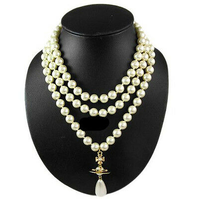 Vivienne Westwood Gold color Three layer stereo Saturn pearl necklace Box+Bag .