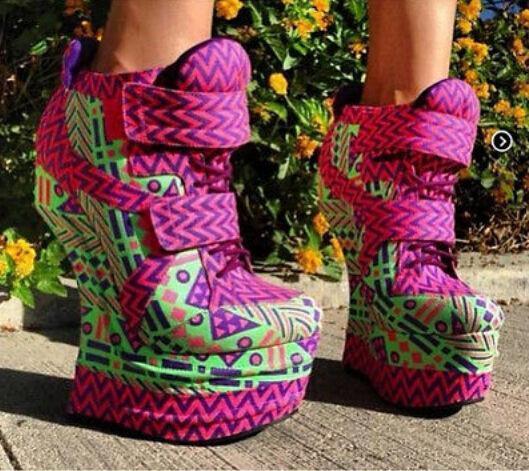 16.5 cm tacón para mujer con taco geométrica Platform Zapatos Lace Up botas al Tobillo Zapatos Platform e00270