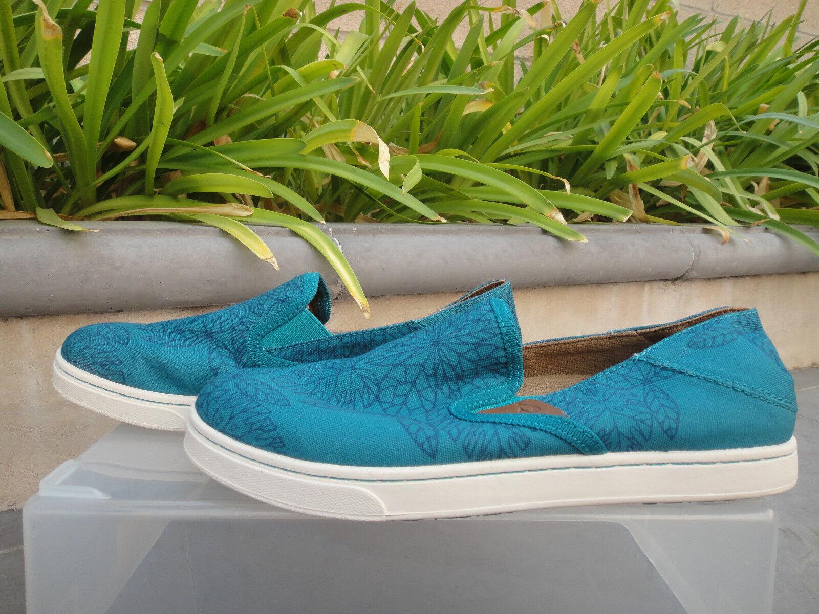 Olukai PEHUEA POW  WOW  Teal Legion Blau Textile, Wmn's Größe US7 MSRP 100