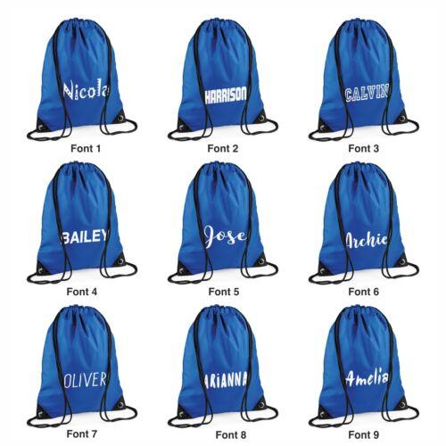 Pump Swim Drawstring Bag Printed with name Royal Blue Personalised Gym Sack
