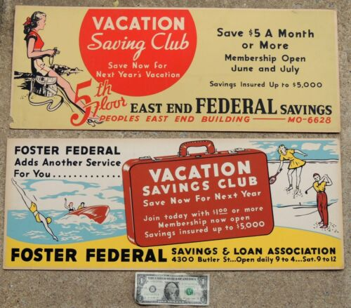 2 vtg 1940s Bus/Trolley SIGN East End & Foster Federal Bank PITTSBURGH PA 11x28""