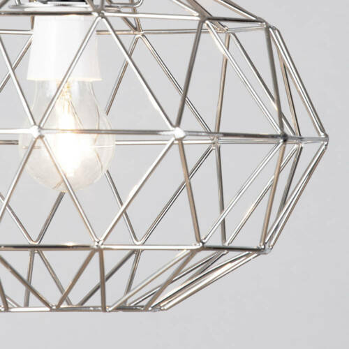 Metal Easy Fit Wire Frame Oval Cage Ceiling Light Shade in Chrome New Litecraft