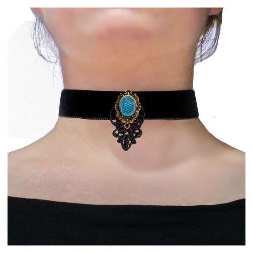Collier Ras De Cou choker victorien gothique noir Velours strass bleu dentelle
