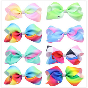 Baby-Girls-kids-Ribbon-Rainbow-Hair-Bow-clip-Alligator-Quality-Bows-lot-Clips