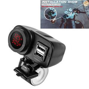 Vente Professionnelle Motorcycle 12v/24v Digital Red Led Voltmeter Gauge+thermometer+dual Usb Charger